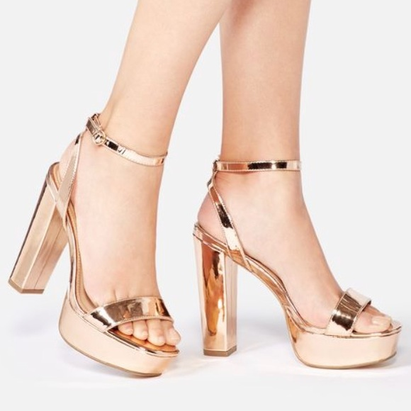 46ce7edb15c New rose GOLD platform sandals DISCO ✨✨ heels 9